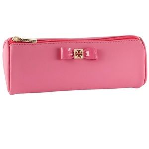 ✨RARE pink Tory Burch Bow Tubular Cosmetic Case